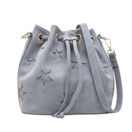 Wholesale Vintage Mouth - 2017 simple beam mouth rope double diagonal cross female bag fashion PU shoulder bag five-pointed star bucket bag
