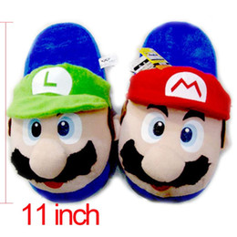 Wholesale Luigi Slippers - Wholesale- Anime Cartoon Super Mario Bros Mario & Luigi Cosplay Stuffed Plush Toy Shoes Home Winter Slippers Adults Unisex Indoor Slippers