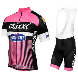 Wholesale Quick Step Bib - 2017 ETIXX Quick Step Cycling Jersey Short Sleeve shirt Bib Shorts set Bicycle Jersey Men MTB Bike Fitness Ropa Ciclismo C2207