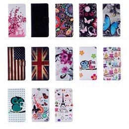 Wholesale usa 5s - Owl Flower Wallet UK USA Flag Eiffel Tower Leather Pouch Case for iphone 7 plus 6 6s plus 5S Samaung Galaxy S8 plus