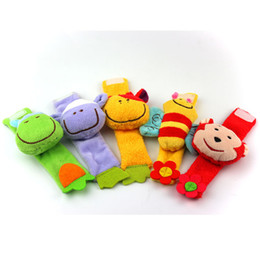 Wholesale Bee Plush Toy - Wholesale- Plush Wrist Rattles,Color three-dimensional animal,Sheep&Bee&donkey&Monkey&Cattle&chick,Baby toys