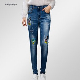 Wholesale Trouser Cartoon - Wholesale- woman jeans Spring and summer high waist slim stretch embroidered trousers Mickey Mouse cartoon image tight fat sister sexy XL