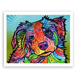 Wholesale Canvas Dog Art - Unframed Modern Abstract Oil Painting Colorful cute Dog Huge Wall Decor Art On Canvas