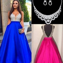 Wholesale Crystal Evening New - 2017 New Sexy Guest Dresses V-Neck Prom Dresses A-Line Beads Satin Backless Zipper Evening Dresses Custom Made With Free Necklace Set