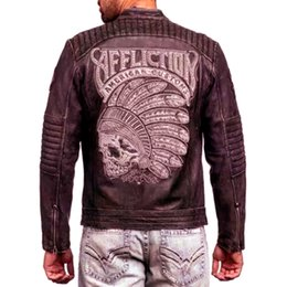 Wholesale First Motorcycle Jacket - The first layer of cowhide Indian embroidery retro tide male Slim was thin motorcycle male genuine leather jacket