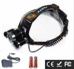 Wholesale xml t6 headlight - 3 Lights Super Bright 3000LM CREE XML T6 lamp bead 4-mode 18650 Rechargeable Waterproof Camping Hunting Headlamp Headlight Head Torch Lamp
