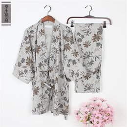 Wholesale Womens Cotton Pajamas Sets - Wholesale- Sping cotton japanese pajamas Womens kimono pajamas sets pyjamas Robes Casual Dressing Gown Home Lounge top and pants 011604