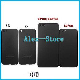 Wholesale Aluminum Back Housing - Matte Black Housing For iPhone 5 5s SE 6 6S 6Plus 6sPlus Aluminum Metal Back Case Battery Door Cover Replacement Like 7 style