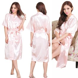 Wholesale Wholesale Robes - Sexy Kimono Robes Night Robe Bathrobe Perfect Wedding Bride Bridesmaid Robes Dressing Gown For Women 9 Colors Large Size LC484