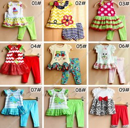 Wholesale Green Tutu Set Girl - XMAS INS New 6M-3T children's RARE EDITIONS 2Pc Set official website of the original single paragraph blue and green flower girls owl suit