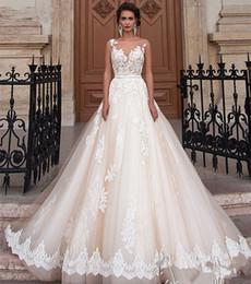 Wholesale Brautkleid Sexy - Vintage Wedding Dress 2017 Scoop Cap Sleeve Chapel Train Applications Tulle Bride Gowns With Tulle Brautkleid Beading Sash Bridal Dresses