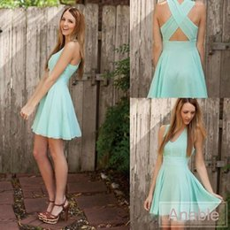 Wholesale Mint Short Homecoming Dress - 2017 Mint Green Homecoming Dresses V Neck Cross Back Short Prom Dress Chiffon Party Prom Dress Mini Cocktail Dresses
