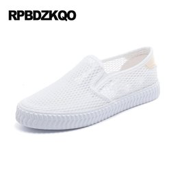 Wholesale Cheap White Platform Sandals - Loafers White Female Round Toe Cheap Shoes China Flats Platform Breathable Comfortable Hollow Out Slip On Sandals Mesh Women
