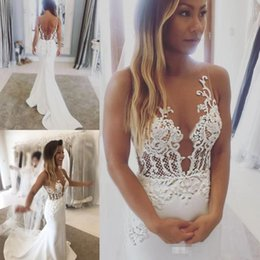 Wholesale bridal lace for sale - Hot Sales Illusion Mermaid Wedding Dresses Sweep Train Garden Beach Bridal Dress For Weddings Custom Quality Sheer Tulle Gown Backless