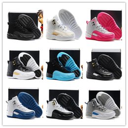 Wholesale boy master - High Quality Kids Children 12 Basketball Shoes Boys Girls OVO 12 French Blue The Master Taxi White Flu gamma blue Playoff 12s