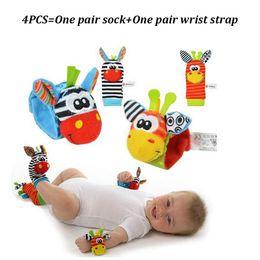 Wholesale Music Socks - Wholesale- 4 pcs( 2pcs Wrist Rattle+2pcs Socks)Baby Infant Soft Toy Developmental Baby Garden Bug Wrist Rattle And Foot Socks Music Toys