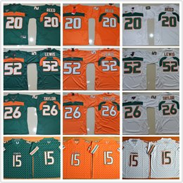 Wholesale Blue Ed - Men Hurricanes College football jerseys 15 Brad Kaaya Ed Reed 20 Sean Ray 52 Taylor 26 Lewis Reggie Wayne Jerseys