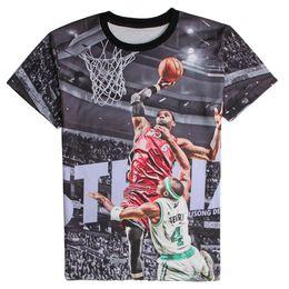 Wholesale Lebron T Shirts - Wholesale- Fashion 3D Printed T-shirts Short Sleeve Shirts LeBron James Shooting Graphic Tees O-Neck Comfortable Summer Tops