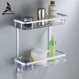 Wholesale Corner Space - Hot sale cheap Two Layer Bathroom Rack Space Aluminum Towel Washing Shower Basket Bar Shelf  bathroom accessories 2518