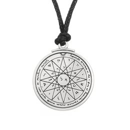 Wholesale Silver Coin Pendants Wholesale - comejewelry Talisman of Wisdom Key of Solomon Pentacle Seal Pendant Kabbalah Wiccan For Good Luck Jewelry Rope Necklace Free Shipping
