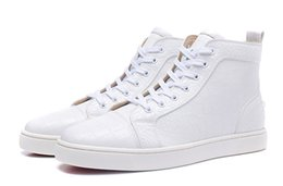 Wholesale Stoned Shoes - New men womens white stone pattern leather high top casual shoes,brand design EU bottom sneakers 35-47 drop shipping
