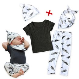 Wholesale Organic Bibs - ins baby spring clothing outfits infant toddlers short sleeve T shirt+long pants+hat+bibs 4Pcs outfits kids cotton clothes sets