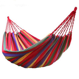 Wholesale Travel Cot Wholesale - DHL Travel Bedding Camping Hammocks Camping Sleeping Bed Outdoor Swing Garden Indoor Sleep Rainbow Hammock with Bag about 190cm*80cm