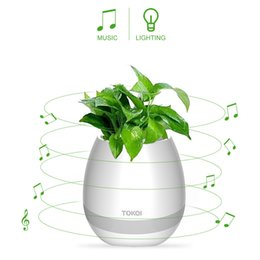 Wholesale Lighting Potted - TOKQI Bluetoth Smart Touch Music Flowerpots Plant Piano Music Playing Wireless Flowerpot colorful light Flower pots KKA1767 (whitout Plants)