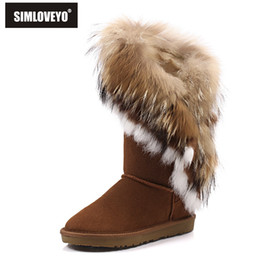 Wholesale Genuine Leather Fox Fur - Wholesale-New Rabbit fur Nature Fox fur boots genuine leather Tassels Christmas Fashion snow boots for women's flat Warm Black Hot