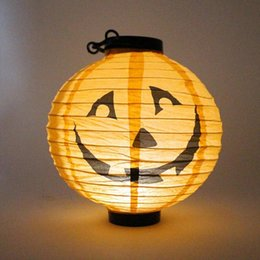 Wholesale Pumpkins Jack O Lanterns - Halloween Paper Lanterns Hanging Pumpkin Lantern with Halloween Holiday Decoration Lanterns with LED Light Skeleton Bats Jack-O Spiders