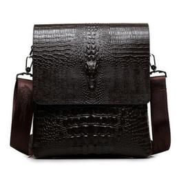 Wholesale High Quality Leather Man Bag - 2017 NEW Vertical high quality leather men bag business casual alligator shoulder bag Messenger bag crocodile grain bag