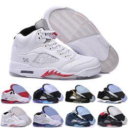 Wholesale Space Beans - 2017 air retro 5 mens Basketball Shoes space jam Green bean Mark Ballas Fire Red Metallic Silver Green Bean Oreo Sneakers Size 41-47