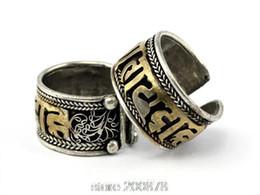 Wholesale man tibetan ring - Wholesale- R158 Tibetan Mantra Rings for Man six words OM MANI PAD ME HUM Golden Open Ring