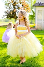 Wholesale Dreses Kids - Cute Ankle Length Flower Girls Dresses 2017 Purple Sleeveless Tulle Girls Communion Dreses Party Dress For Kids Little Girl
