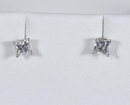 Wholesale Diamond Square Stud Earring - Diamond Princess Stud Earrings Genuine 1 3 .33 14K White Gold Natural Square