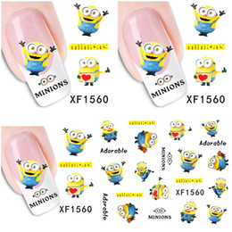 Wholesale Minion Lights - 1 Aheet XF1560 Cartoon Watermark Water Transfer Design Yellow Despicable Minion Tip Nail Art Sticker Nails Decal Manicure Tools