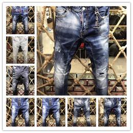 Wholesale Long Trouser Jeans - 2017 New Style Brand DSQ Men's Denim Jean Embroidery Tiger DSQ2 Pants Holes D2 Jeans Zipper Men Pants Trousers