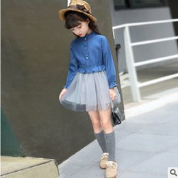 Wholesale Girl S Denim Sets - Children 's Dress Clothing Sets New 2017 Spring and Autumn Girls Blue Color 2 Piece Size6-14 ly352 Kids Denim Mesh Clothes Sets
