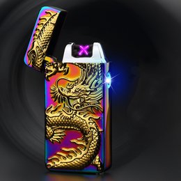 Wholesale Mini Rechargeable Lighter - Pulsed Arc Lighter USB Rechargeable Lighter Creative Design Electric Double Arc Ci-garette Lighter Mini Rechargeable arc Lighters