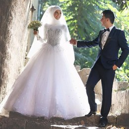 Wholesale Long Islamic Skirts - Muslim Islamic Wedding Dresses 2017 White Long Sleeves Bridal Dress Beadings Crystals Plus Size Floor Length Tulle Wedding Gowns for Bride