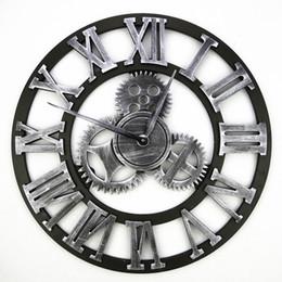 Wholesale Wooden Gears - Wholesale-Vintage Wooden Wall Clock Retro Gear Wall Clock Wandklok Wall Clocks Watches Design Relojes Decoration Wanduhr Watch Round 45cm