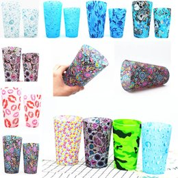 Wholesale wholesale fusing glass - 590ml And 370ml Skull Silicone Wine Glasses Camouflage Outdoor Cup Tumbler Beer Steins Recyclable Colorful Drinking Cups HH7-18