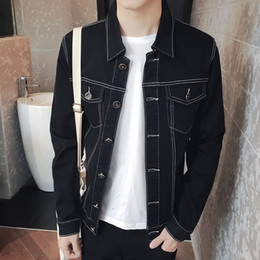 Wholesale Cheap Clothing Buttons - Wholesale- TG6316 Cheap wholesale 2017 new Jean jacket black men's clothing of cultivate one's morality men's jacket coat han edition tide