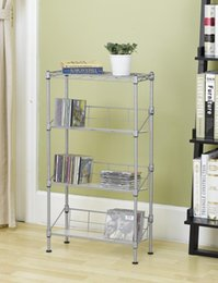 Wholesale Eco Shoes - New Silver 4-Tier Media Rack CD Rack Book Stand Racks Organizer Storage Rack