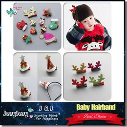Wholesale Printed Plastic Gift Bags - Baby Hairband Children Headband Kids Lovely Cute Hair Clips Accessories Christmas Festival Gifts With OPP Bag