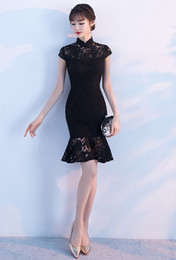 Wholesale High Collar Cheongsam - elegant cheongsam short dress 2017 new black mermaid Slim lace in stock dress for girls' homecoming dress
