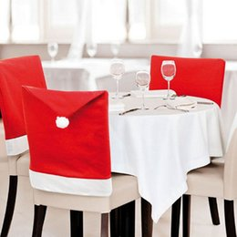 Wholesale Dining Table Cloth Cover - Decorative Christmas Chair Covers Hotel Decoration Santa Hat Dinner Dining Table Decor Cap Gift for Xmas Party Wedding Red Restaurant Day