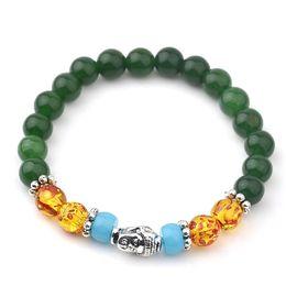Wholesale White Buddha - Buddha Jade Bracelets For Women Tibetan Silver Beads Bracelets & Bangles 7 Chakra Healing Balance Jewelry