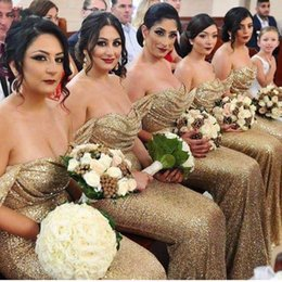 convertible neckline dress Coupons - Sparkly Mermaid Bridesmaid Dress 2017  Long Off the Shoulder Pleats Gold 2e683e4a9359