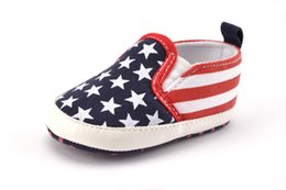 Wholesale Usa Flag Fabric - Kids American flag shoes fit 0-1T Infant kids stars red white stripe printed non-slip footwear fashion baby shoes USA style shoes T3856